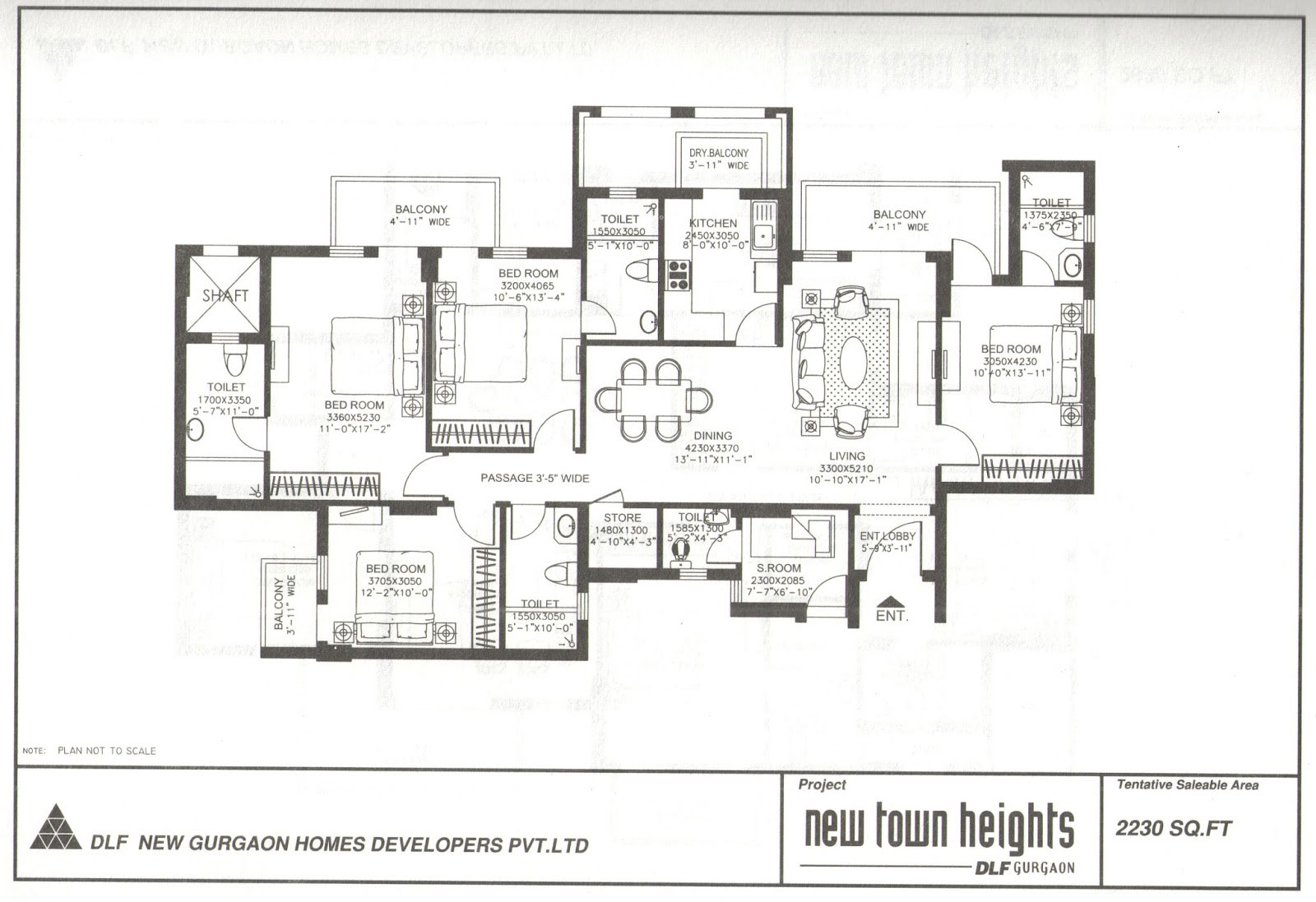 DLF New Town Heights 2230 sqft 4+1