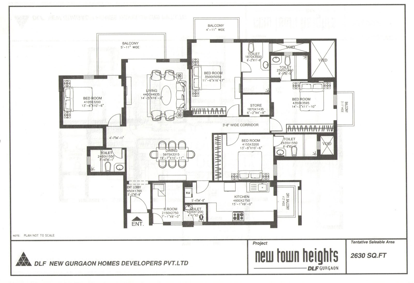 DLF New Town Heights 2630 sqft 4+1