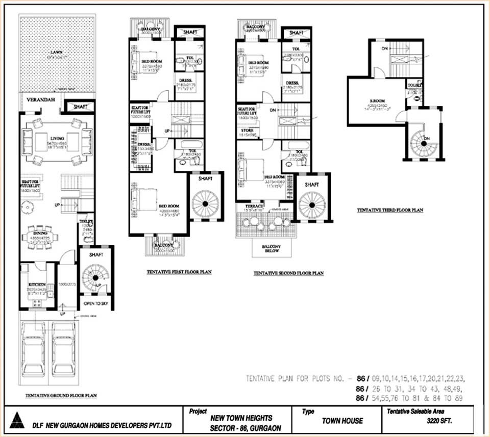 DLF New Town Heights 3220 sqft 4+1 Town house